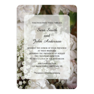 White Carnations & Baby's Breath Wedding Card