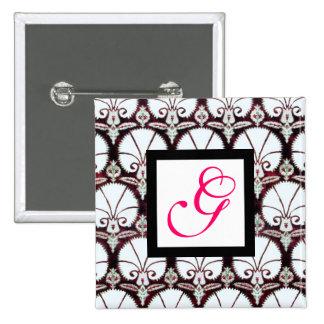 WHITE CARNATIONS DAMASK MONOGRAM pink fuchsia 15 Cm Square Badge