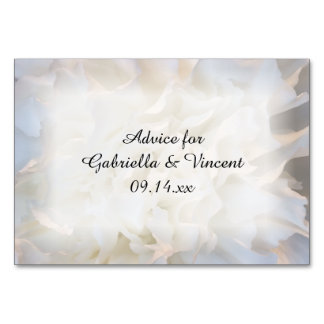 White Carnations Floral Wedding Advice Cards