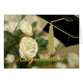 White Carnations Graduation Card
