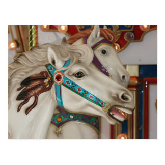 White carousel horse with blue bridle picture postcard