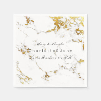 White Carrara Marble Gold Abstract Stone Lux Party Disposable Napkin