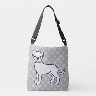 White Cartoon Boxer Dog Drawing Tote Bag