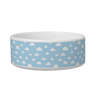 White Cartoon Clouds on Blue Background Pattern Bowl