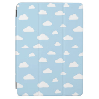 White Cartoon Clouds on Blue Background Pattern iPad Air Cover
