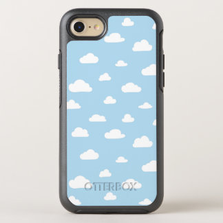 White Cartoon Clouds on Blue Background Pattern OtterBox Symmetry iPhone 8/7 Case