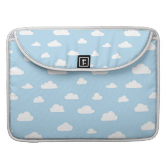 White Cartoon Clouds on Blue Background Pattern Sleeve For MacBook Pro