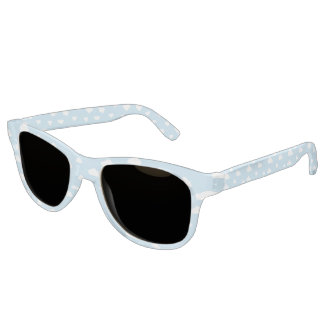 White Cartoon Clouds on Blue Background Pattern Sunglasses