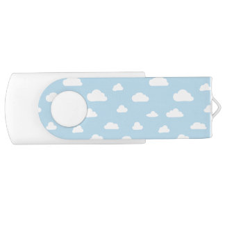 White Cartoon Clouds on Blue Background Pattern USB Flash Drive