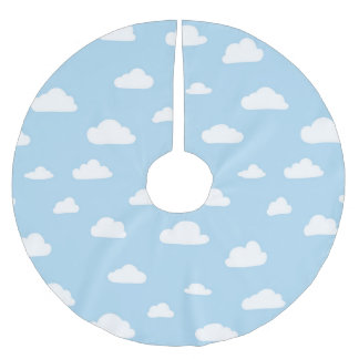 White Cartoon Clouds on Light Blue Background Patt Brushed Polyester Tree Skirt