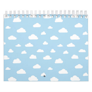 White Cartoon Clouds on Light Blue Background Patt Calendars