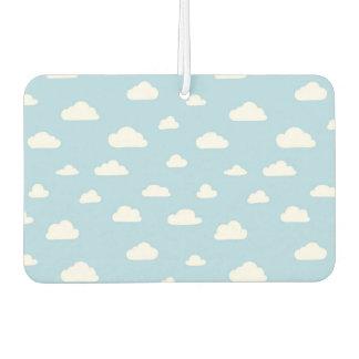 White Cartoon Clouds on Light Blue Background Patt Car Air Freshener