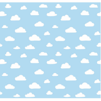 White Cartoon Clouds on Light Blue Background Patt Photo Sculpture Badge