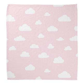 White Cartoon Clouds on Pink Background Pattern Bandana