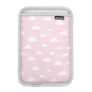 White Cartoon Clouds on Pink Background Pattern iPad Mini Sleeve