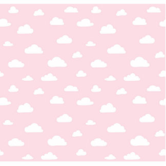 White Cartoon Clouds on Pink Background Pattern Photo Sculpture Badge
