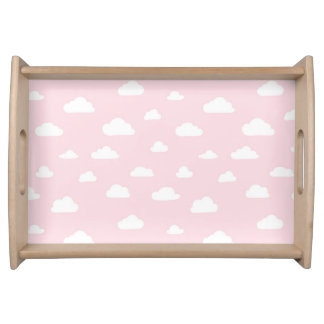 White Cartoon Clouds on Pink Background Pattern Serving Tray