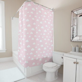 White Cartoon Clouds on Pink Background Pattern Shower Curtain