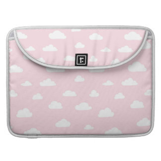 White Cartoon Clouds on Pink Background Pattern Sleeve For MacBook Pro