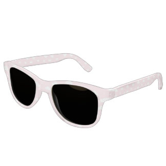 White Cartoon Clouds on Pink Background Pattern Sunglasses