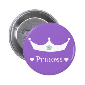 White Cartoon Princess Crown & Hearts Lilac 6 Cm Round Badge