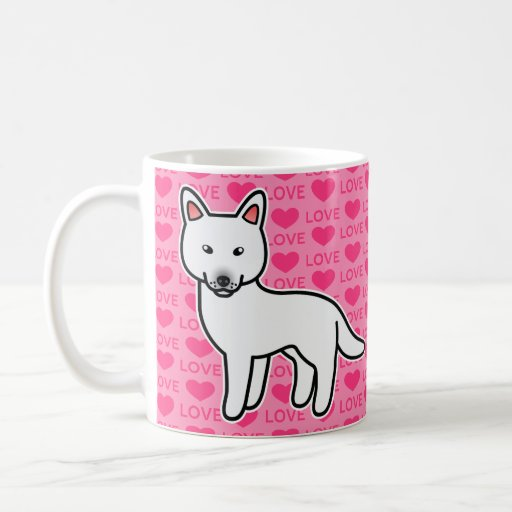White Cartoon Siberian Husky Love Coffee Mug