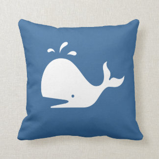 white CARTOON whale  on medium blue pillow