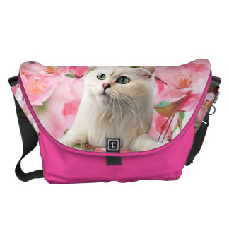 White Cat and Pink Flowers Large Messenger Bag