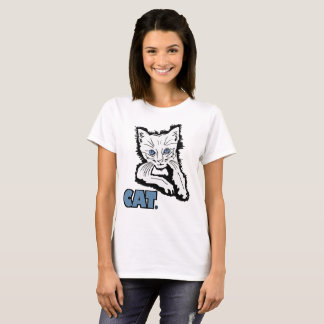White Cat Animal Print Garments Merchandises T-Shirt