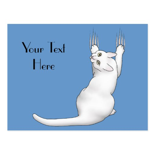 White Cat cartoon drawing scratching and tearing t Post Card