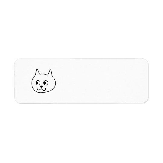 White Cat Cartoon. Return Address Label