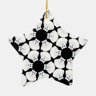 White cat ceramic ornament