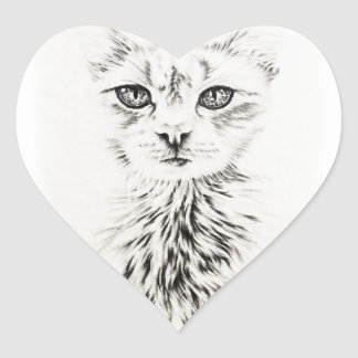 White Cat face drawing of pet portrait cat Heart Sticker