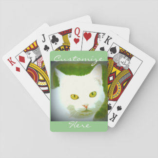 White cat face playing cards
