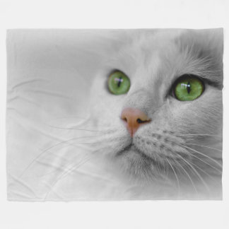 White Cat  Fleece Blanket, Large