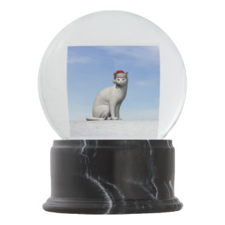White cat for christmas - 3D render Snow Globes
