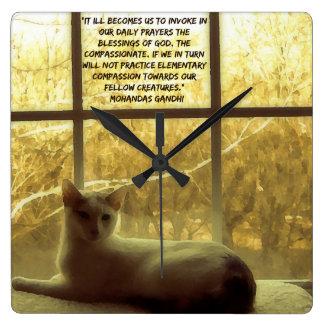 White Cat & Gandhi Compassion Quote Wall Clock