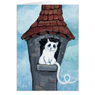 White Cat in a Fairy Tale Tower  Card