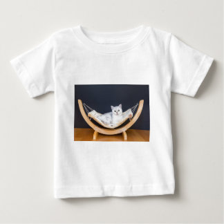 White cat lying lazy in hammock baby T-Shirt
