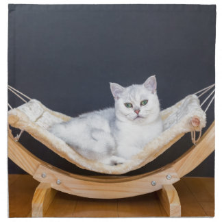 White cat lying lazy in hammock napkin