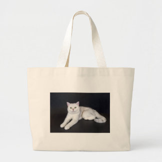 White cat lying on isolated black background large tote bag