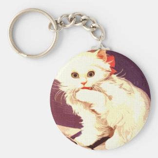 White Cat Miss Priss Key Chain