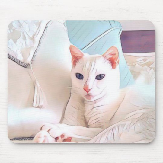 White Cat Mouse Pad