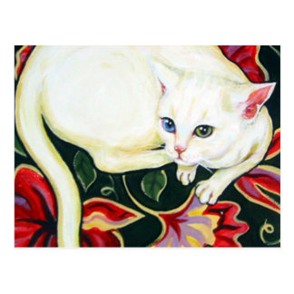 White Cat on a Cushion Postcard