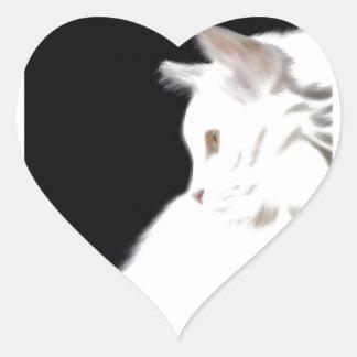 White cat on black background digital art heart sticker