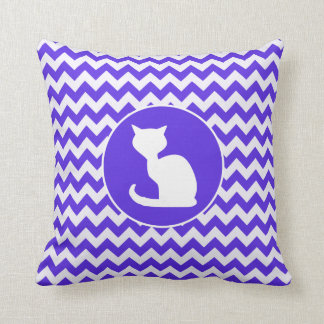 White Cat on Blue Violet Chevron Throw Cushions
