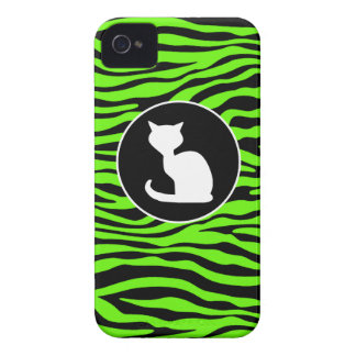 White Cat on Bright Neon Green Zebra Stripes iPhone 4 Cover