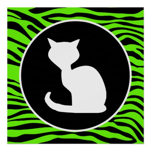 White Cat on Bright Neon Green Zebra Stripes Posters