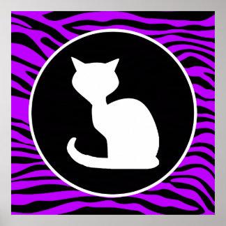 White Cat on Electric Purple Zebra Stripes Print