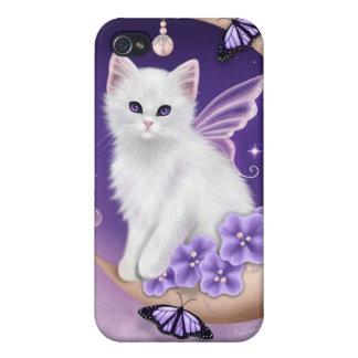 White Cat on Moon Purple Butterflies iPhone 4 case